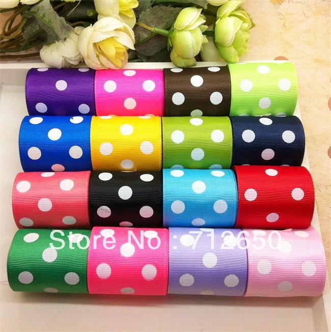 "Free shipping mixed 16 yards 1-1/2"" 38mm width dots printed grosgrain ribbon gift packaging ribbon DIY hairbow garment accessory(China (Mainland))"