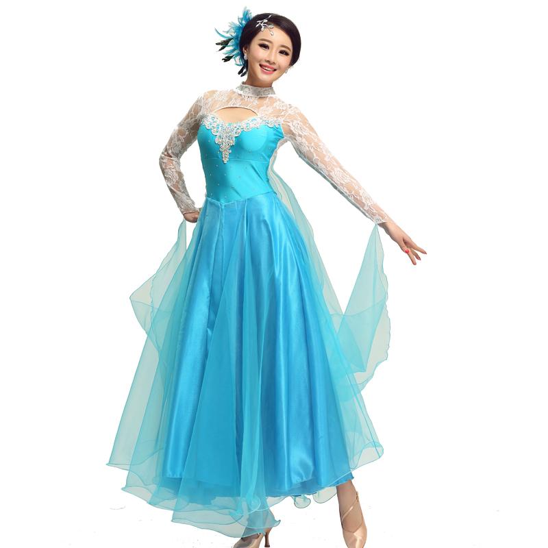 multi color Luxury modern dance costume customize waltz performance wear competition dress lace splicing ballroom dancing dress(China (Mainland))