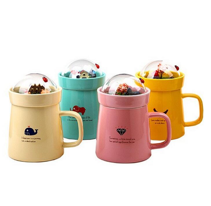 400ML Creative DIY Micro Landscaped Garden Ceramic Cup Ceramic Lid Cute Coffee Cups and Mugs Canecas Criativa(China (Mainland))