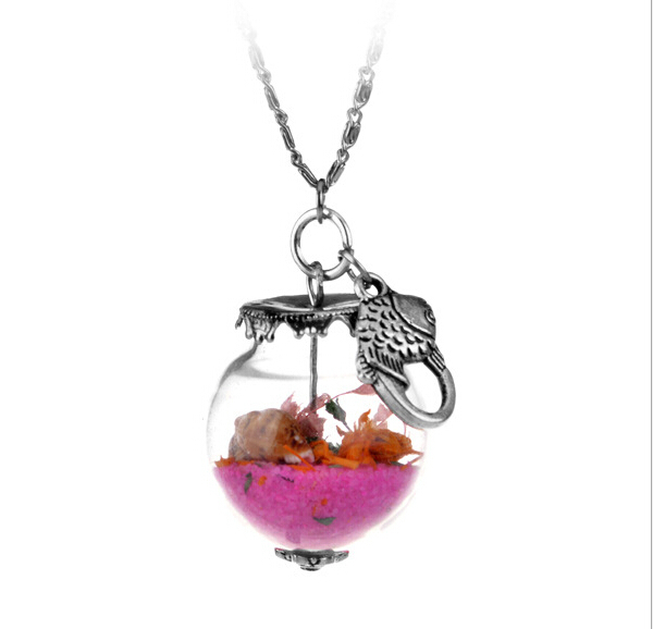 Real flower necklace glass Bottle Vial necklace Pendant With Beah Fish Scew Chain Necklace Romantic NATURAL AIR DRIED FLOWERS