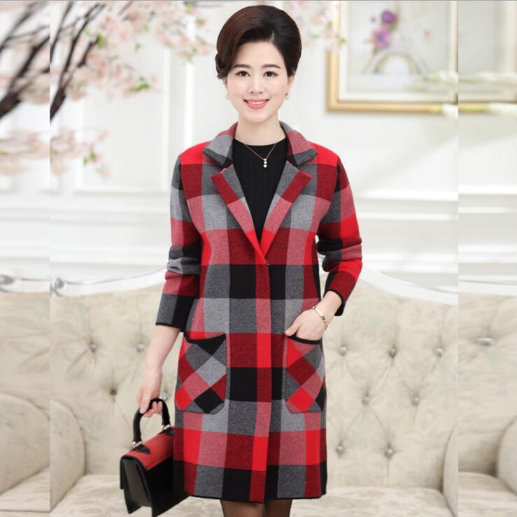 2016 fashion middle aged women font b tartan b font clothing long coat jacket autumn winter