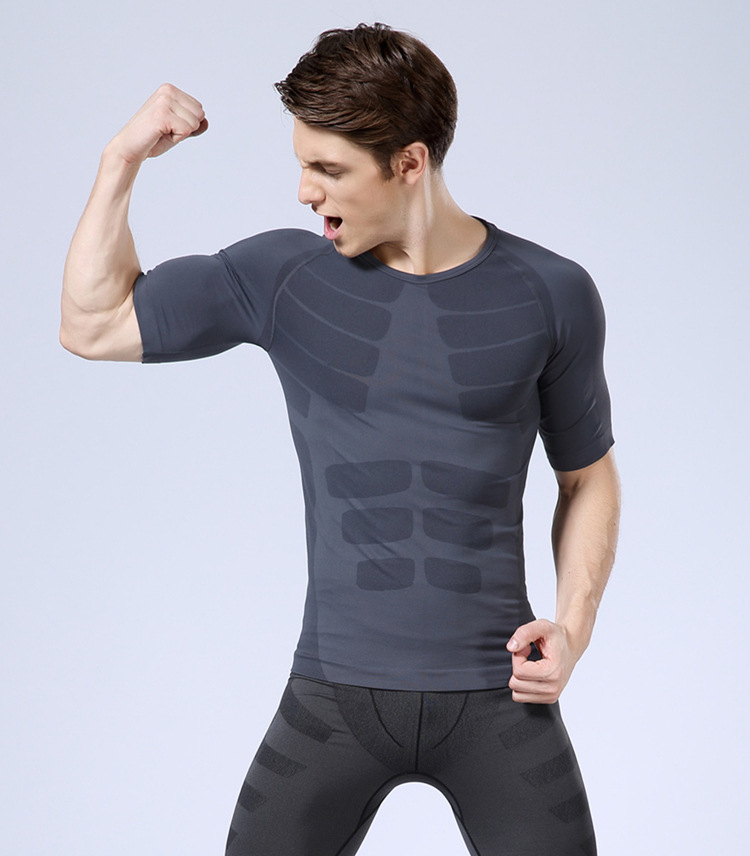 MA06 mens sports t shirt breathable quick dry running shirts body shaper vest slimming(China (Mainland))