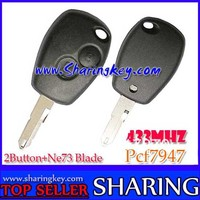 Free Shipping (5pcs/Lot ) Renault Megane Laguna Cilo  Scenic  2 Button  Remote Key PCF7947 Chip Ne73 Blade 434MHZ