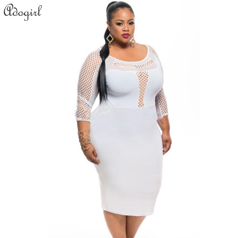 Plus size White Plus Size Fishnet Detail Three Quarter Sleeve Bodycon Dress WomenОдежда и ак�е��уары<br><br><br>Aliexpress