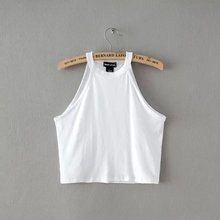 2015 New Women Summer Novelty Tight Cotton Elastic Crop Tops Cute Sleeveless T-shirts Lady Sexy Stretchable Cropped Tees(China (Mainland))