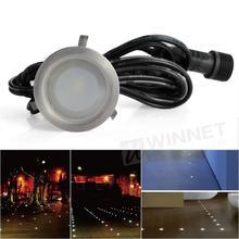10x LED Deck Plinth Lights Kit 30mm Lamp IP67 Waterproof Stair Yard Warm White / White(China (Mainland))