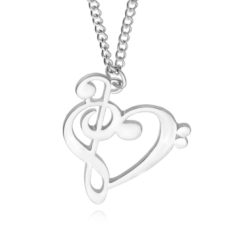 2016 Minimalist Simple Fashion Hollow Heart Shaped Musical Note Pendant Necklace Music Jewelry Special Gift(China (Mainland))