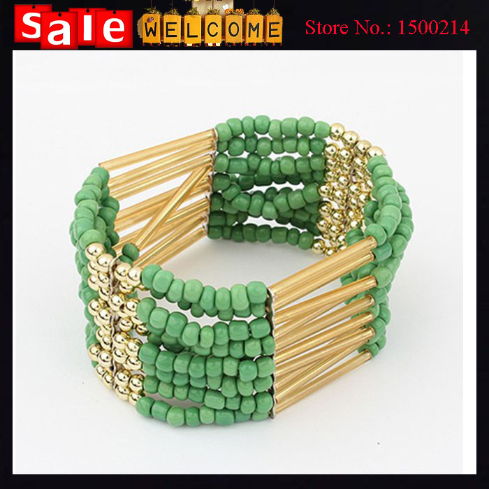 Ethnic Beads String Link Bracelets Alloy Hollow Wide Wristband Elatic Wrap Large Bangles Bracelets Jewelry Accessories for Women(China (Mainland))