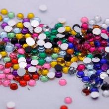 5 sets 1802mm 12 Color Nail Art Rhinestones Glitter Tips Round Shape Deco + Wheel - Indoor goods store