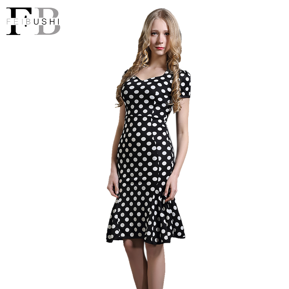 2016 Women Summer Polka Dot Dress With Collar Contrast Black White Retro Mermaid Short casual Dresses Puff Sleeve Low Cut Neck(China (Mainland))