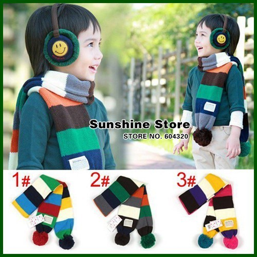 Stripe boys baby scarf colorful rainbow winter scarf for children,bufandas Kids Neck Warmer gaiter #2D2519  5 pcs/lot (3 colors)