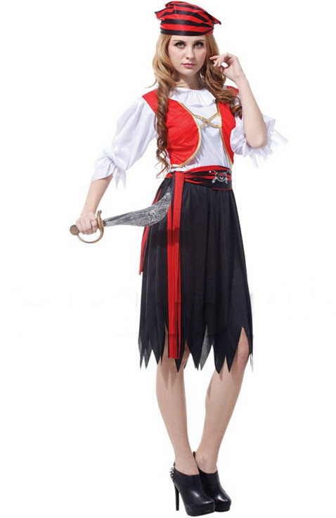 Free shipping!!Red waistcoat black dress luxuriant wild female pirate, all saints party, stage performances, masquerade costumes(China (Mainland))