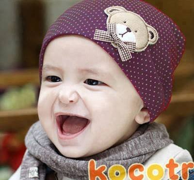 MMT Free Shipping 1 Pcs/lot Big cute bear baby cap Kids hat Cotton boys Beanie Infant hat children baby hat 5023(China (Mainland))