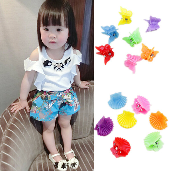 New 2015 30Pcs New Fashion Mixed colors Plastic Hair Clip Baby Women Clamp 9 Style(China (Mainland))