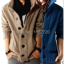 free shipping fashion big lapel single-breasted men's sweater real wool cotton men's sweater men's coat wool coat cardigan M-2XL(China (Mainland))
