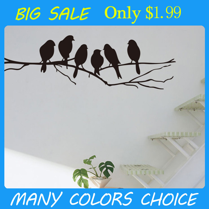 Free shipping: Removable Black Birds Tree Branch PVC Mural Art Decal Room Wall Stickers Home Decor DIY Room Decoration(China (Mainland))