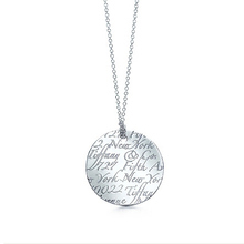 925 sterling silver jewelry fine fashion solid round tag with sign letter pendant necklace for women girls  trendy jewerly