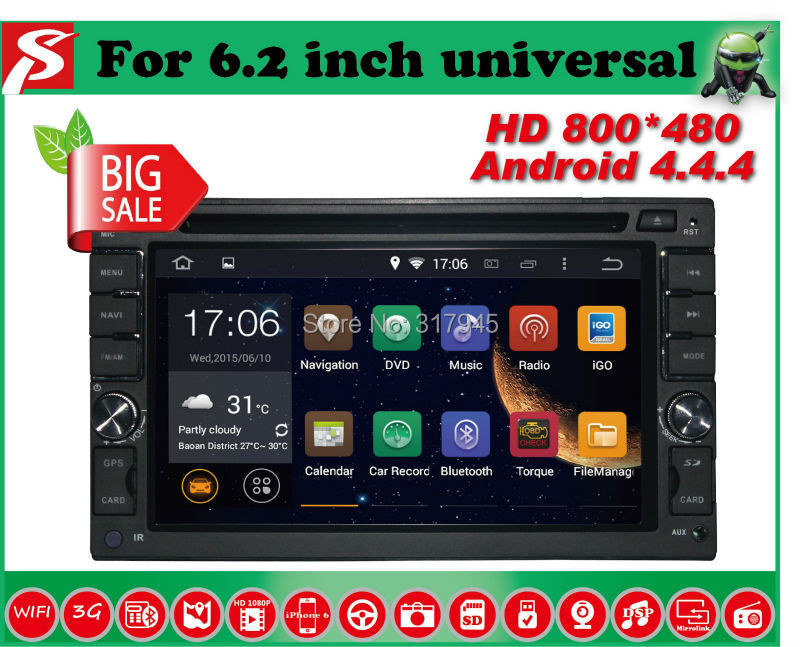 Dual Core 1.6GHZ! Two Din 6.2 Inch Android 4.4.4 Universal Car DVD Player With Wifi 3G USB GPS Bluetooth TV Radio RDS Free Map(China (Mainland))