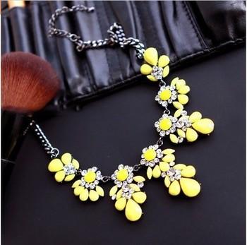 Новинка нагрудник колье флуоресценции желтый цвета кристалл драгоценного цветок ожерелья и подвески для женщин XL-288