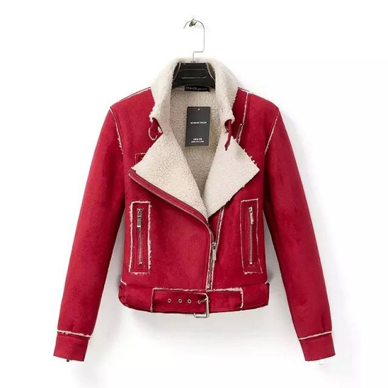 New fashion Winter Woman Ladies Suede Leather coat pink/red Thick Lambs Wool Coat sheepskin suede motorcycle jacket women ST416(China (Mainland))