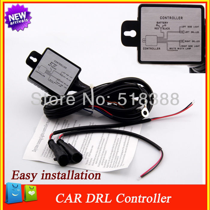 car Led daytime light auto ON/OFF car Led DRL controller wire,auto , with flash, reduce light and synchronous steering function(China (Mainland))