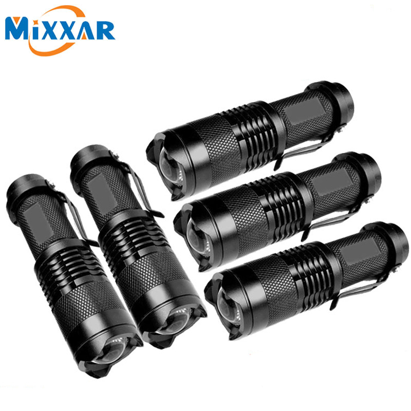ZK50 5 pcs/lot CREE Q5 Mini Black 2000LM LED Flashlight 3 Modes Zoomable small LED Flahslight Torch penlight waterproof(China (Mainland))