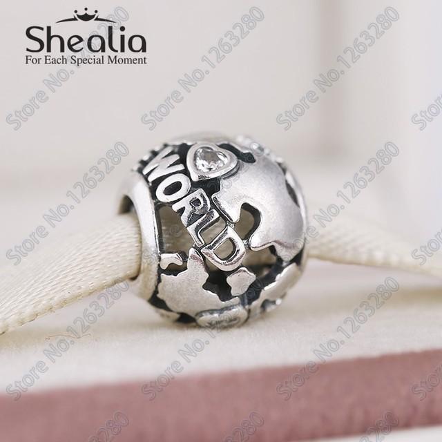 Бусины по всему миру с ааа ясно CZ 2015 осень аутентичные 925 серебряные Shealia ювелирные изделия подходящее DIY браслеты BD254