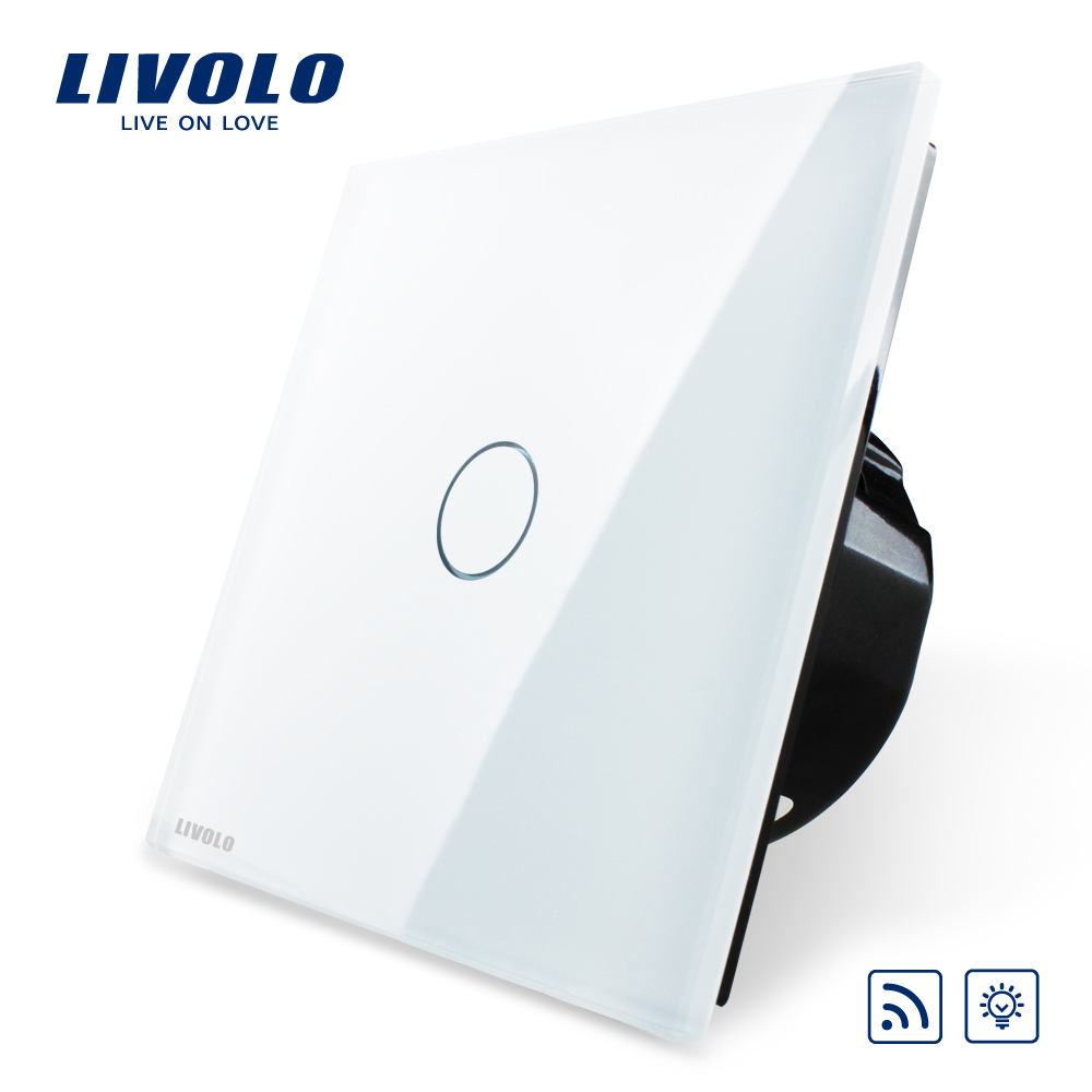 Free Shipping, Livolo EU Standard Switch, VL-C701DR-11, White Crystal Glass Panel, AC 220~250V Remote& Dimmer Wall Light Switch(China (Mainland))