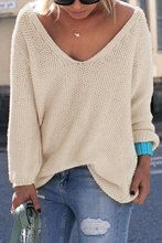 Womens Cute Elegant V Neck Loose Casual Knit Sweater Pullover Long Sleeve Spring Sweater Tops sueter mujer(China (Mainland))