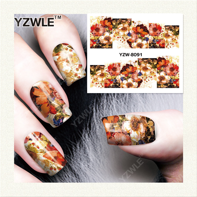 YZWLE 1 Sheet DIY Decals Nails Art Water Transfer Printing Stickers Accessories For Manicure Salon(YZW-8091)(China (Mainland))