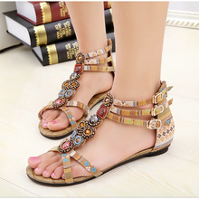 summer women Rhinestone beaded sandals national wind bohemian sandals shoes(China (Mainland))