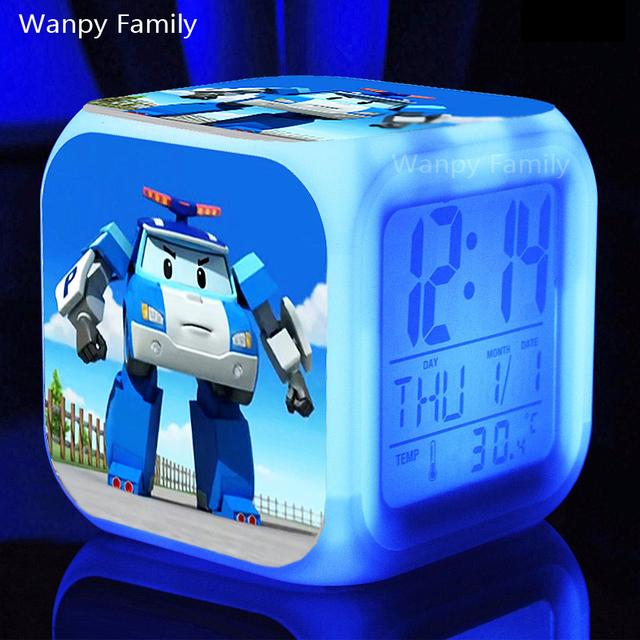 Корея мультфильм Robocar Poli Будильники, Светящийся LED Изменение Цвета Цифровой будильники Для Детей игрушки Многофункцио будильники