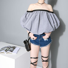 [TWOTWINSTYLE] 2016 Summer Slash Neck Off Shoulder Puff Sleeve Sexy Tops Women T-Shirt New Fashion(China (Mainland))