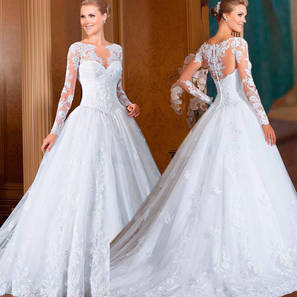 Vestido De Noiva A Line Floor Length Appliques Tulle Elegant Csutomize Lace Long Sleeve Wedding