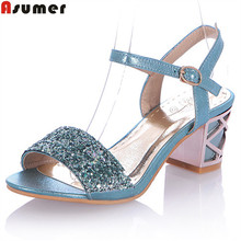 Buy Asumer 2017 hot sale new arrive women sandals fashion buckle summer high heels shoes elegant bling simple lady prom shoes for $24.96 in AliExpress store