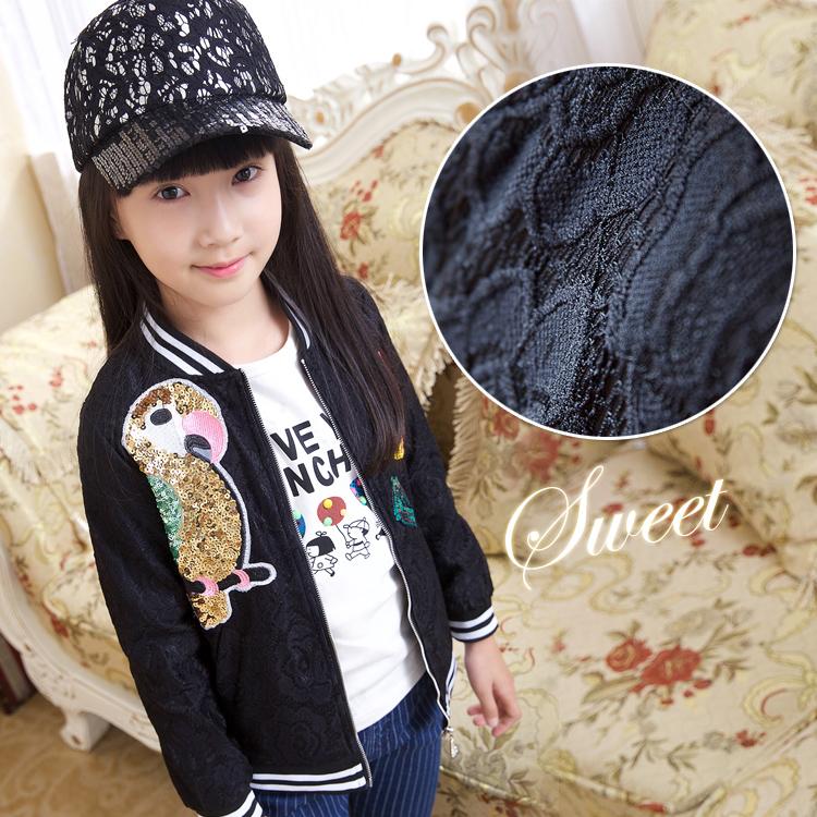 2015 autumn new in girls child top paillette parrot child baseball uniform casual outerwear jacket<br><br>Aliexpress