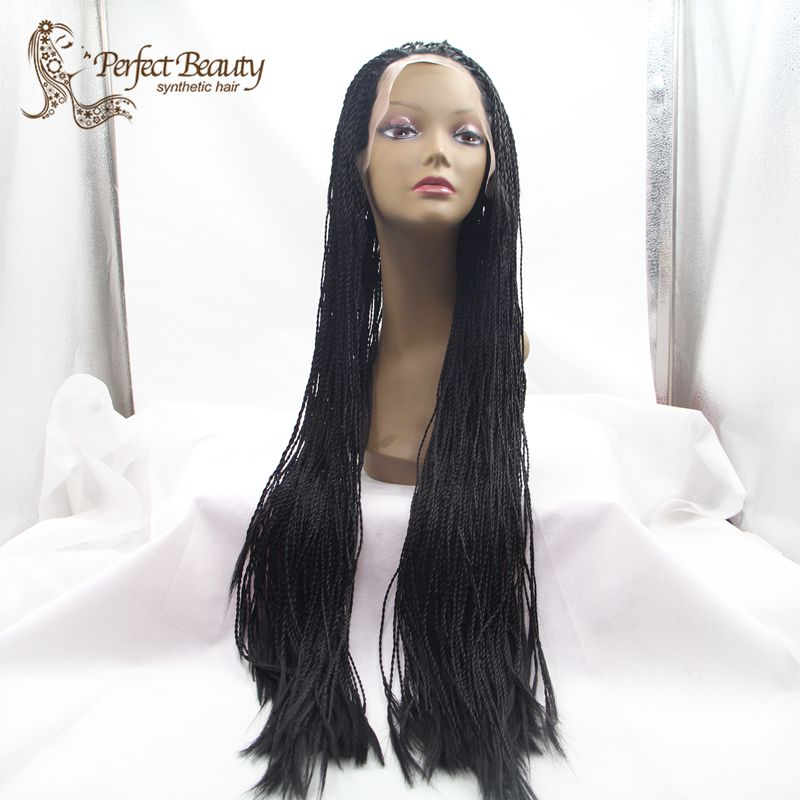 Фотография Twist Lace Front Wig Heat Resistant Afro Small Twist  Hair Synthetic Senegalese Twists Wig Long Black Women