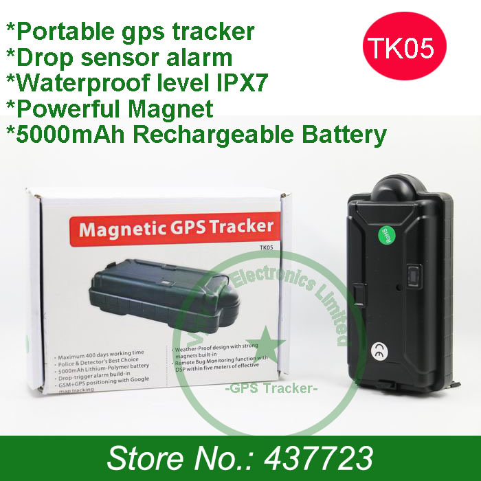 New! Free shipping!Waterproof rastreador gps with 5000mAh,magnet,drop sensor alert,voice monitor and free gps tracking software(China (Mainland))