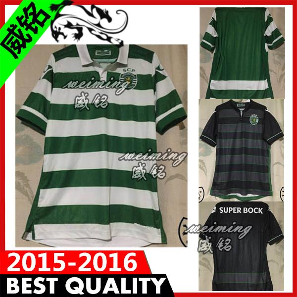 New arrival Sporting Lisbon Soccer Jersey football shirts 2016 Sporting Lisbon shirt 2015 home white green Stripe soccer Jersey(China (Mainland))