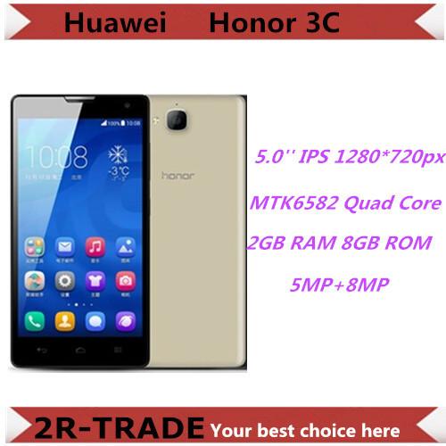 Original HUAWEI Honor 3C 4G FDD LTE Quad Core 5.0'' IPS 1280*720 Mobile Phone 1GB RAM 8GB ROM 8MP Android 4.2 Dual SIM GPS WCDMA(China (Mainland))