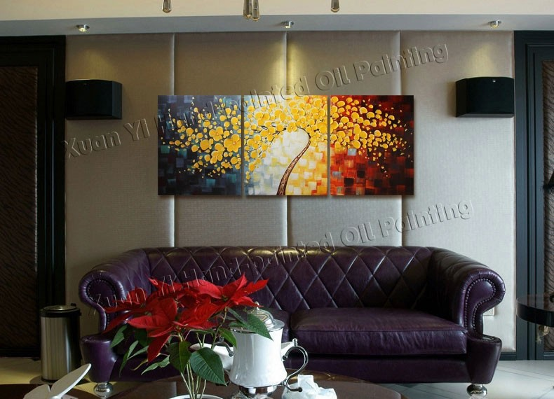 Buy 3 Panels Wall Art Picture Hand Painted Modern Art Decorative Paintings Flower Palette Knife Oil Painting Canvas For Home Decor cheap