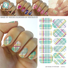 Classic Green White Tartan Water Transfer Design Nails Stickers Manicure Styling Tools Water Film Paper Decals