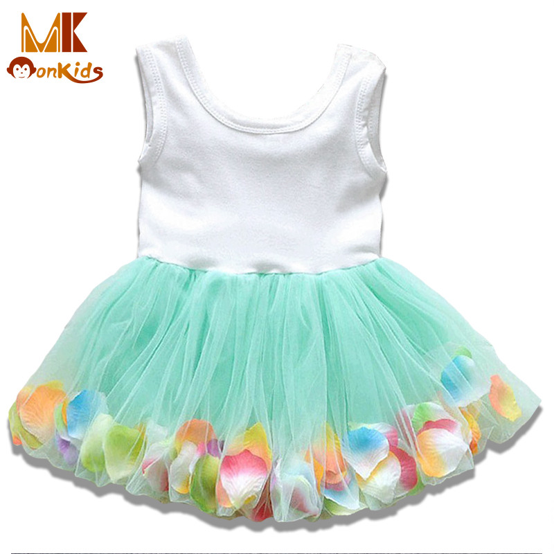 Monkids 2016 Summer Kids Baby Girls Clothing Dresses Beautiful Flower Dress Sleeveless Tutu Princess Dress Baby Girl Dress D848q(China (Mainland))