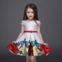 Bandage Tutu Party De Festa Flower Princess Fashion 2016 Floral Summer Print Girls Dresses Toddler Vestidos Kids Clothes NTQ034
