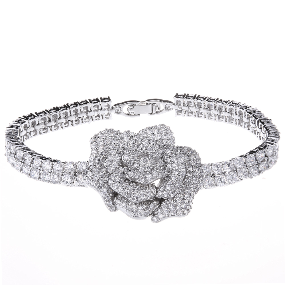 AAA Top Quality Cubic Zircon Rose Design Deluxe Women Bracelet Romantic Bridal Jewelry 347 pcs of CZ 18K Gold &amp; Platinum Plated<br><br>Aliexpress