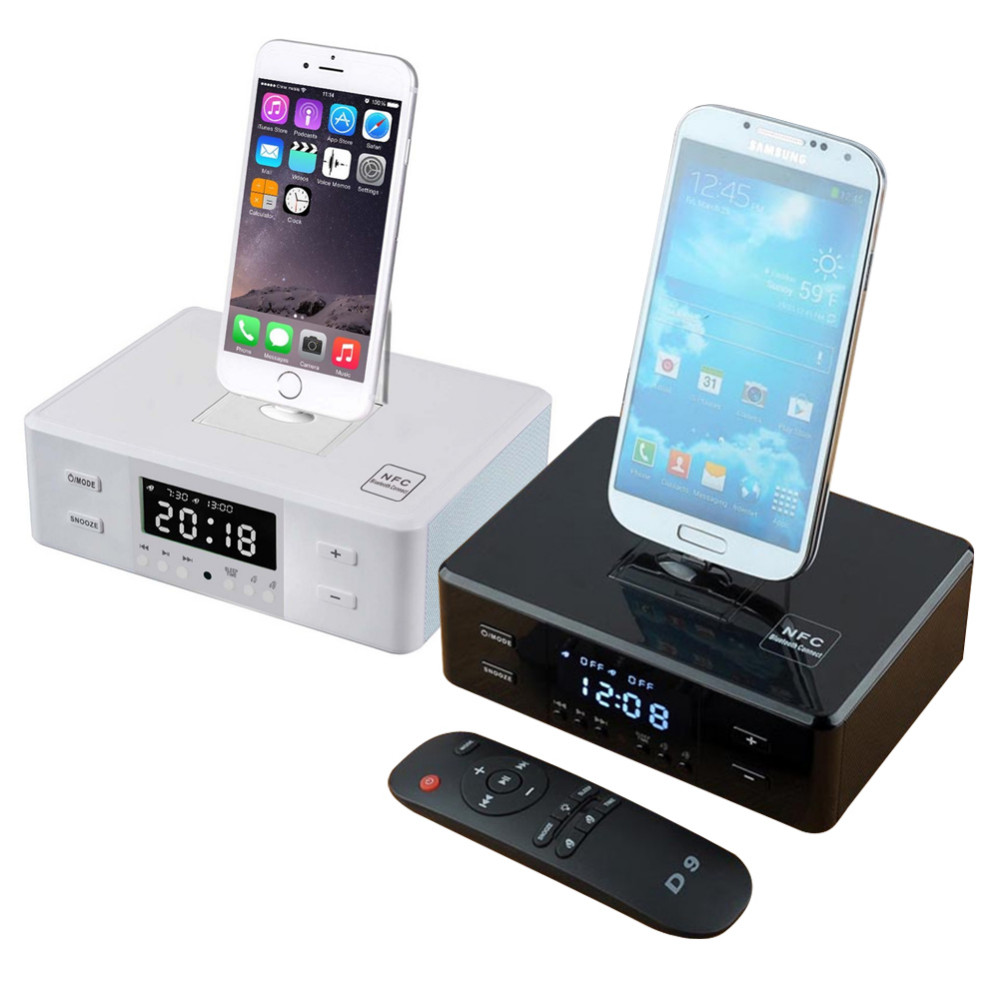 lcd speaker digital fm radio nfc dual alarm clock dock charge station remote. Black Bedroom Furniture Sets. Home Design Ideas
