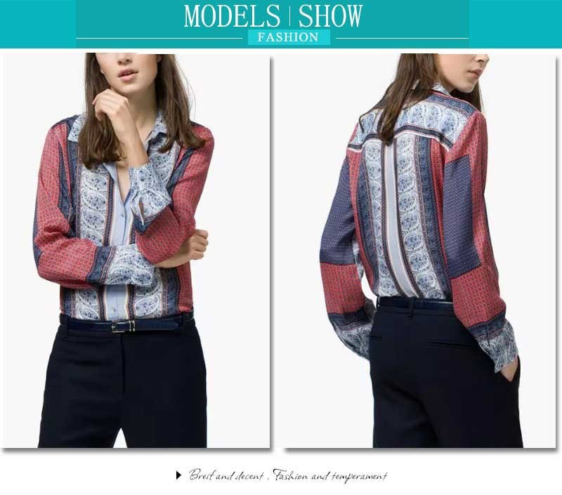 New Design Red Blue Vintage Women Blouse Summer 2015 Long Sleeve Cardigan Women Clothing Ladies Office Shirts Tops Feminine 8113