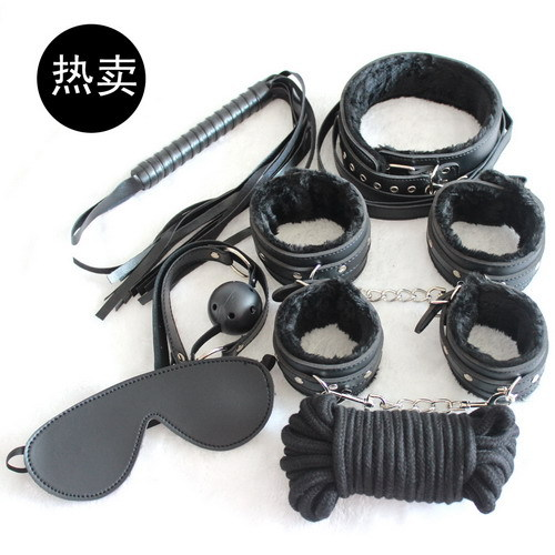 Easy fashion Sex Tools 8 Pieces kit black Leather Bedroom Restraint System Bedroom Restraint Fun Adult Set,Sex Toy,Sex products(China (Mainland))