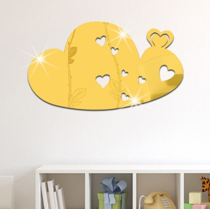 Funlife 35x20cm 14x7.8 inches Three-dimensional 3D Crystal Cloud Heart Mirror Wall Stickers Nursery Home Decoration MS361228(China (Mainland))