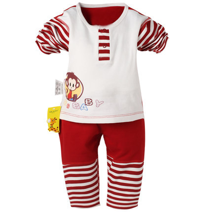 2015 New 2pcs Original Spring Autumn Baby Boys Girls Clothes Sets Cute Striped Newborn Infant Suits Tees Cal Cheap Bebes Set(China (Mainland))